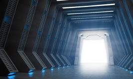 Science fiction interior. A hallway with an open gate Stock Photo