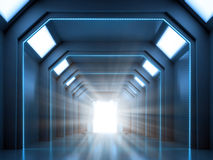 Science fiction interior scene. Science fiction interior - a hallway with an open gate Stock Photo