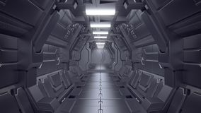 Science fiction interior scene - sci-fi corridor 3d illustrations royalty free stock photography