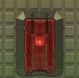 Science fiction interior very secure reinforced vault gate with security screen lock. 3d render Stock Photography