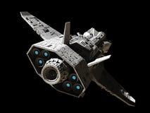Science fiction Interplanetaire Gunship - Achtergedeelte Hoekige Mening Royalty-vrije Stock Afbeeldingen