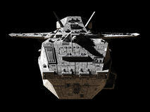 Science Fiction Interplanetary Gunship - Front View. Science fiction illustration of an interplanetary gunship,  on black, front view, 3d digitally rendered Stock Images