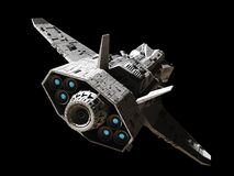 Science Fiction Interplanetary Gunship - Rear Angled View. Science fiction illustration of an interplanetary gunship, isolated on black, rear angled view with Royalty Free Stock Images