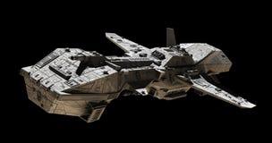 Science Fiction Interplanetary Gunship - Side Angled View. Science fiction illustration of an interplanetary gunship,  on black, side angled view, 3d digitally Stock Photos