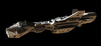 Science Fiction Interplanetary Gunship - Side View. Science fiction illustration of an interplanetary gunship, isolated on black, side view with low lighting, 3d Royalty Free Stock Images