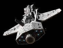 Science Fiction Interplanetary Gunship - Top Rear View Stock Photo