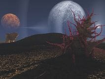 Science-Fiction landscape. With two planets Royalty Free Stock Images