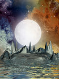 Science fiction landscape. With strange ground formation Stock Image