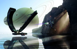 Science fiction landscape. A great spaceship and several fighters, navigating over water, on an alien planet Royalty Free Stock Photos