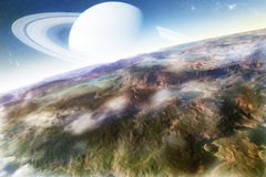 Science Fiction Landscape. With planet on the horizon Stock Photo