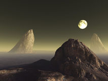 Science-Fiction landscape. With one moon and three rocks Royalty Free Stock Photography