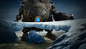 Science Fiction Fantasy, Robot, Alien Planet. Science fiction landscape of an alien planet. A giant robot droid explores the winter world stock illustration