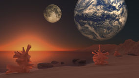 Science-Fiction landscape. With two planet and plants Stock Photography