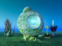 Alien shrine and plants royalty free stock photos