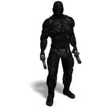 Science fiction male character in futuristic suit. 3D rendering with clipping path and shadow over white Royalty Free Stock Images
