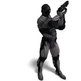 Science fiction male character in futuristic suit Royalty Free Stock Image