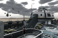 Science fiction military base. Female office on platform near command tower of scifi base stationed on barren planet observes returning airborne patrol Royalty Free Stock Photography