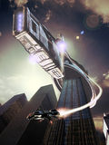Science Fiction. Mother ship over buildings. A shuttle comes out of the cargo Royalty Free Stock Photos