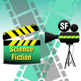 Science fiction movie. Abstract colorful background with movie projector, filmstrips and a clapboard with the text science fiction written with yellow letters royalty free illustration