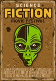 Science fiction movie fest advertising poster. In vintage style with alien head vector illustration. Layered, separate grunge texture and text Royalty Free Stock Image