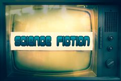 Science fiction movie genre sci-fi television label old tv text. Scifi vintage retro blue background Stock Photos