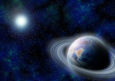 Science-fiction outer space with blue planet. Royalty Free Stock Image