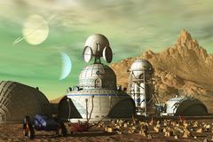 Science fiction outpost. Science fiction base on barren alien planet under green sky Royalty Free Stock Photos