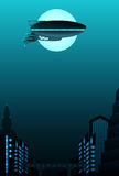 Science fiction poster design. With space for text. Zeppelin in front of urban landscape Royalty Free Stock Photography