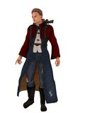 Science fiction rebel commander. Fantasy or science fiction military figure in red bolero and long robe with rifle in back mounted holster Royalty Free Stock Photo