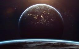 Science fiction ruimtebehang, ongelooflijk mooie planeten, melkwegen Elementen van dit die beeld door NASA wordt geleverd stock foto's