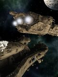 Battle Cruisers. Science fiction scene of giant space battle cruisers, 3d digitally rendered illustration Royalty Free Stock Photography