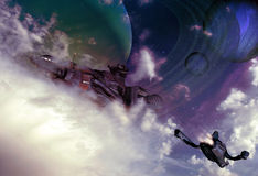 Science fiction skies. Spaceships flying in the sky, among clouds, with planets and satellites in the visible exterior space Stock Photo