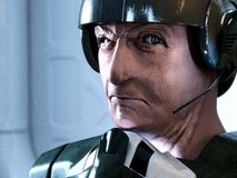 Science-fiction soldier. A futuristic pilote with an expressive face - classic and generic science fiction icon Royalty Free Stock Photography