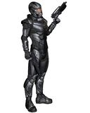 Science Fiction Soldier - Standing. Futuristic science fiction soldier in protective armoured space suit, standing holding pistols, 3d digitally rendered Stock Photo