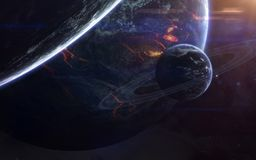 Science fiction space wallpaper, incredibly beautiful planets, galaxies. Elements of this image furnished by NASA stock images
