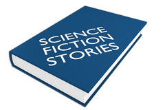 Science Fiction Stories concept. 3D illustration of SCIENCE FICTION STORIES script on a book, isolated on white Stock Photography