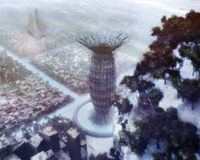 Science Fiction Winter City. With buildings, hill on the close up with trees and moody atmosphere Stock Photo