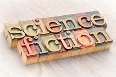 Science fiction word abstract in wood type. Science fiction word abstract in letterpress wood type printing blocks Stock Photography