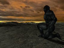 Science fictional character in a strange and. Hostile world. 3D rendering over background scene Stock Images