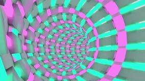 Science fictionanimering av ett flyg till och med tunnelen Rörelse för ögla för neonrör sömlös royaltyfri illustrationer