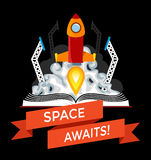Science fictionbok med Rocket Launch Royaltyfri Foto
