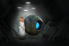 Science fictionfantasie, Ruimteschip, Meisje, Robot royalty-vrije stock fotografie