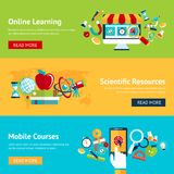 Science flat banner set. With online learning scientific resources mobile courses isolated vector illustration Stock Photography
