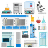 Science Flat Color  Icons. Set of tools for natural sciences research and highly technological laboratory equipment flat vector illustration Royalty Free Stock Image