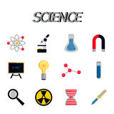 Science flat icon set Stock Images