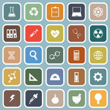 Science flat icons on blue background Royalty Free Stock Images