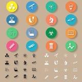 Science flat icons set Stock Photos