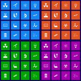 Science flat icons set Royalty Free Stock Images