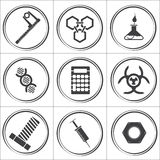Science flat vector circle icons. Vector illustration royalty free illustration