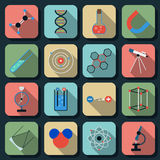 Science flat vector icons Royalty Free Stock Images